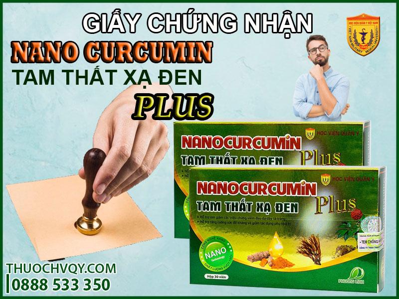 giấy chứng nhận viên uống nano curcumin tam thất xạ đen plus